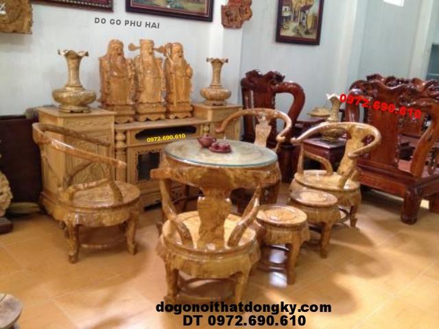 Bộ bàn tròn gỗ nu nghiến Do go phu hai BT03