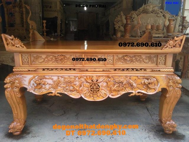 Bàn thờ gỗ mít chạm dơi thọ ,dogodongky.net.vn ST48
