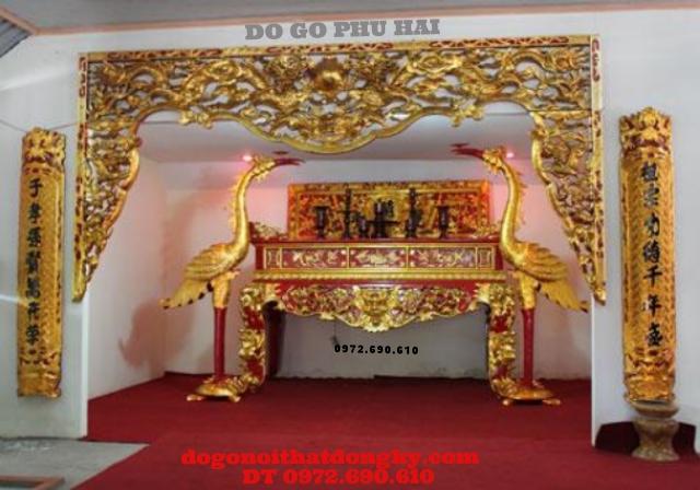 Bàn thờ đẹp, Sập thờ gỗ gụ kich thước lỗ ban BT52