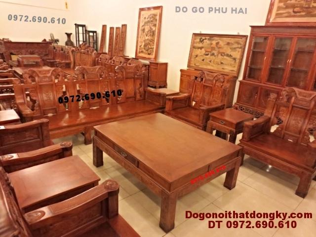 Bộ bàn ghế đẹp gỗ hương kiểu như ý NY50