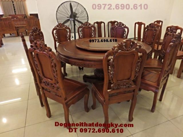 Bộ bàn ghế ăn đẹp kiểu bàn tròn xoay BA42