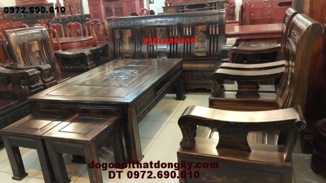 Bộ bàn ghế đẹp, Bàn ghế đồng kỵ kiểu mới gỗ mun B85