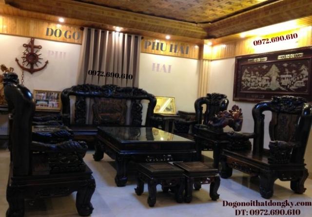 Bàn ghế đồng kỵ đẹp Công trĩ gỗ mun sừng B97