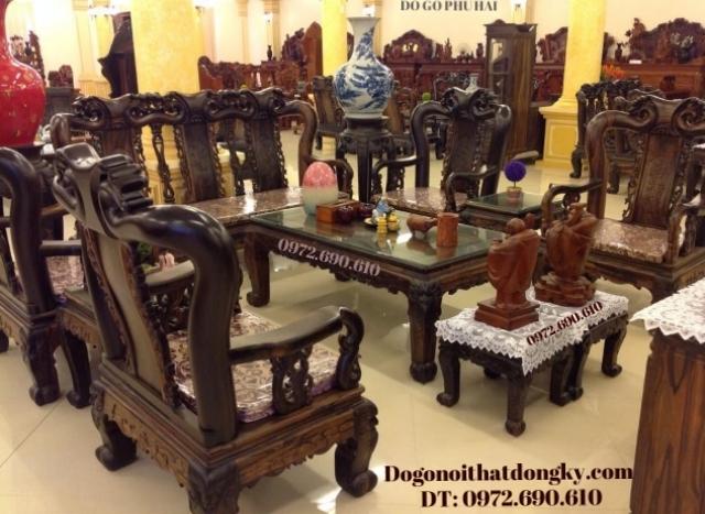 Bàn ghế phòng khách gỗ mun kiểu quốc đào B102