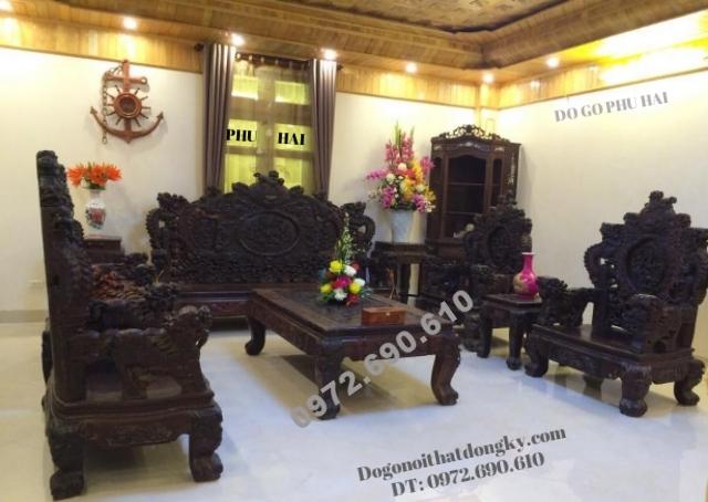 Bàn ghế đồng kỵ, Bộ Rồng Bảo Đỉnh gỗ mun B113