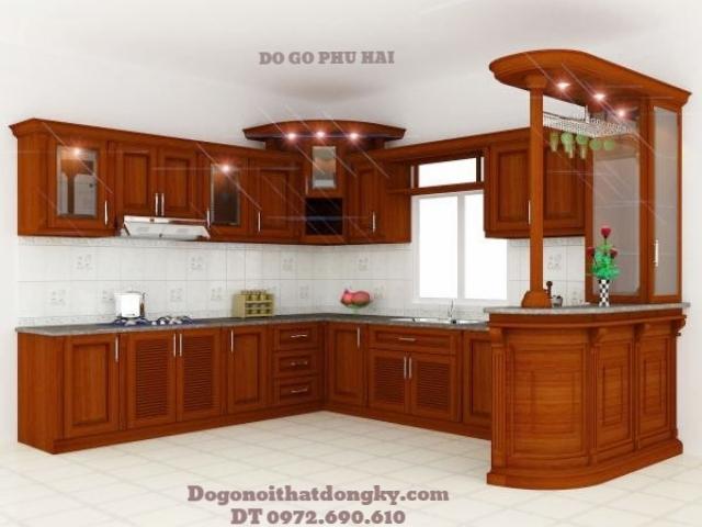 Nơi thiết kế và sản xuất Tủ bếp đẹp gỗ tự nhiên TB2