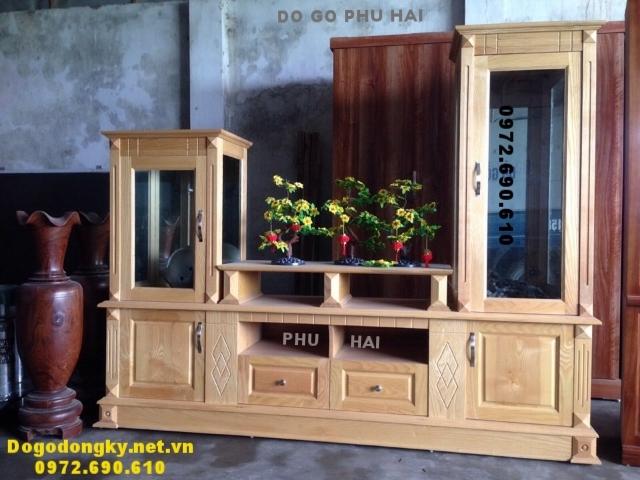 Tủ trưng bày tivi, Tủ kệ để tivi gỗ tự nhiên KTV64