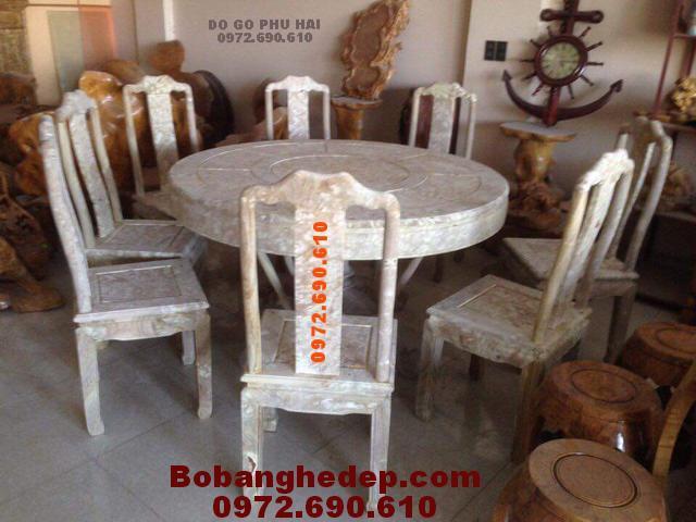 Bộ bàn ghế ăn gỗ nu nghiến Kiểu bàn tròn BA97