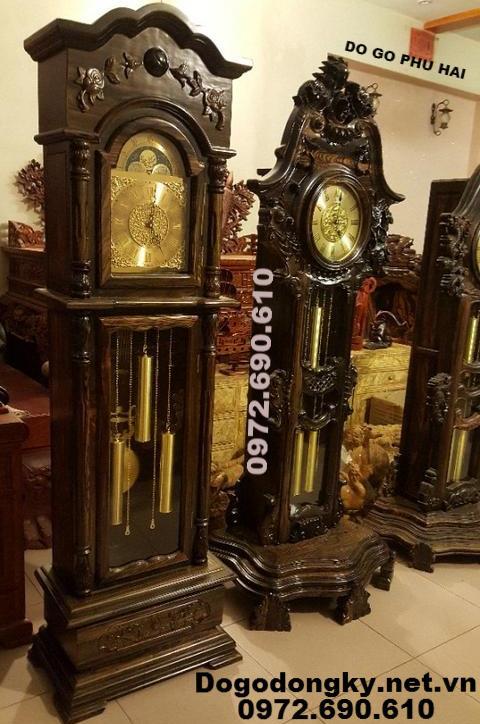 Quà Tặng Ý Nghĩa, Đồng Hồ Cây Gỗ Mun DH.124 (Shop quà tặng: dong ho dep lam qua tang, qua bieu, qua mung, Đồng hồ quả lắc, Dong ho cay go mun, Dong ho kieu duc, đồng hồ đứng, đồng hồ để phòng khách)