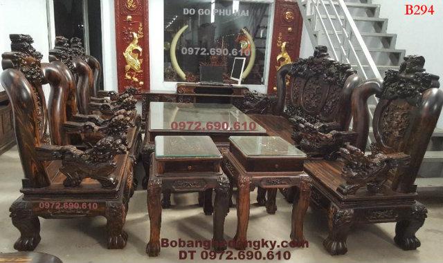 Bàn ghế phòng khách đẹp, gỗ mun tay nghê cột 16cm B294