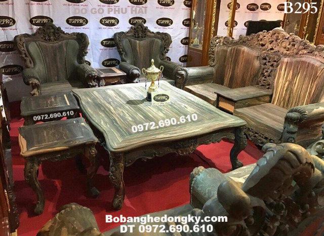 Bàn ghế đẹp gỗ mun cho phòng khách của đại gia B295