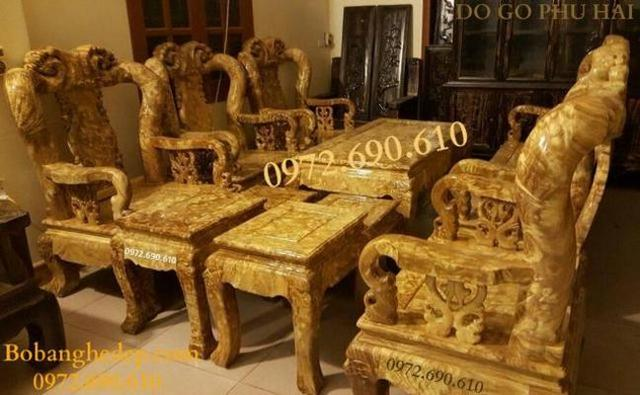 Bộ Bàn Ghế Gỗ Nu Nghiến Đẹp Nhất Đồ gỗ Phú Hải SX B300