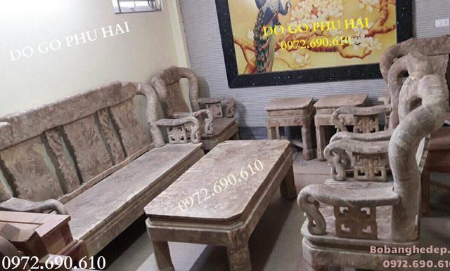 Nơi Bán Bộ bàn ghế gỗ Ngọc Nghiến Đẹp Cột 12cm B303