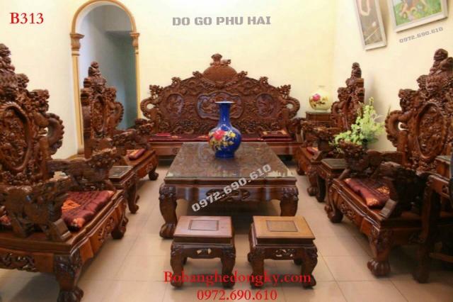 Mẫu Bộ bàn ghế gỗ đẹp dành cho nhà Biệt thự rộng B313