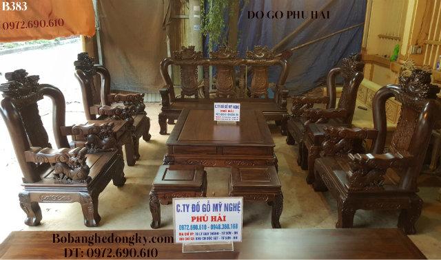 Ban ghe phong khach dep, Bàn Ghế Phòng Khách Đẹp Tay Nghê Cột 12cm Gỗ Cẩm Vân