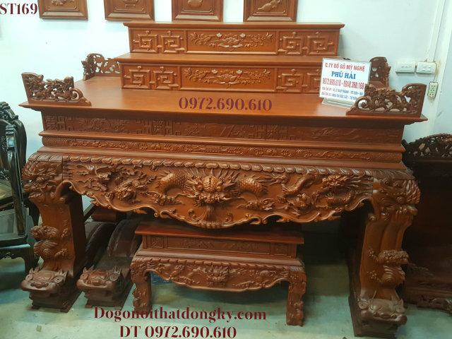 Mẫu Sập Thờ Tam Cấp Đẹp - Bàn thờ 3 tầng - Đồ thờ Phú Hải ST169