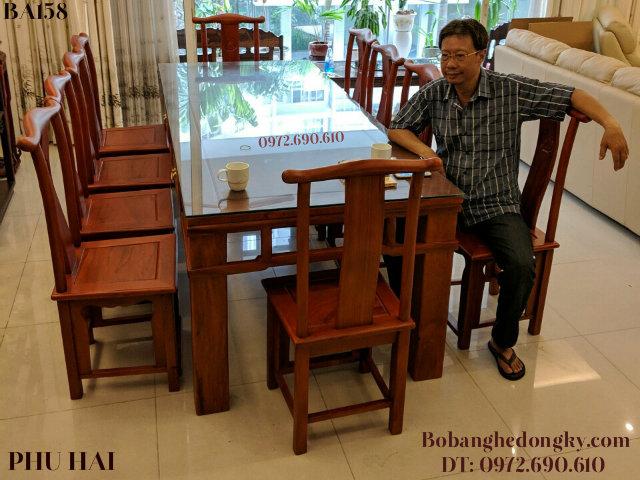 Bộ Bàn Ăn Gỗ Gụ Đẹp 10 Ghế Bàn Chữ Nhật BA158