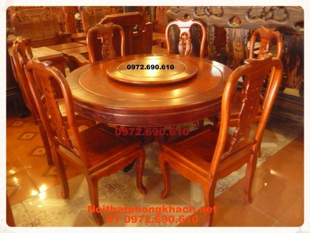 Bộ bàn ăn gỗ hương Kiểu bàn Tròn Xoay BT33