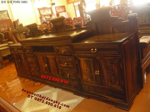 Kệ Ti Vi gỗ mun Kiểu hiện đại 3 cục TV06