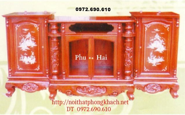 Kệ ti vi gỗ hương khảm ốc hoa lá tây TVH5