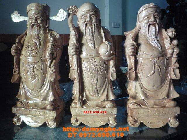 Bộ tam đa Phúc Lộc Thọ gỗ Pomu TĐ02