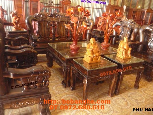 Bộ bàn ghế gỗ mun Sang trọng Quốc voi vai 12 QV12