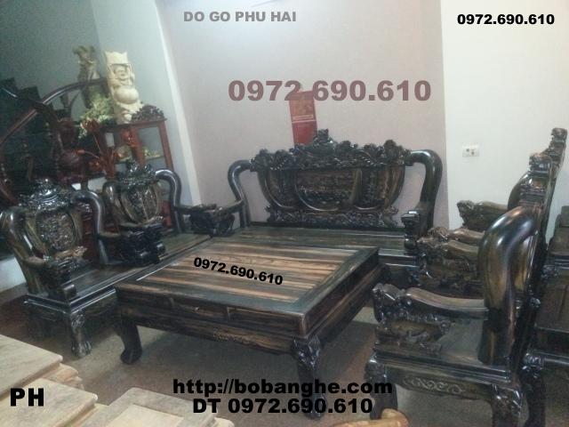 Bộ bàn ghế gỗ mun Quí và hiếm Kiểu Rồng đỉnh RD13