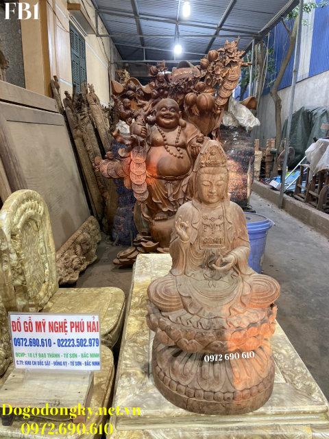 Tượng Phật Bà Quan Âm Bằng Gỗ Hương Đẹp Nhất FB01