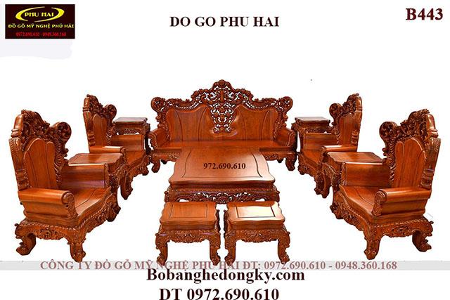 Bộ Bàn Ghế Gỗ Đẹp Dành Cho Nhà Biệt Thự Mẫu Tân Cổ Điển B443