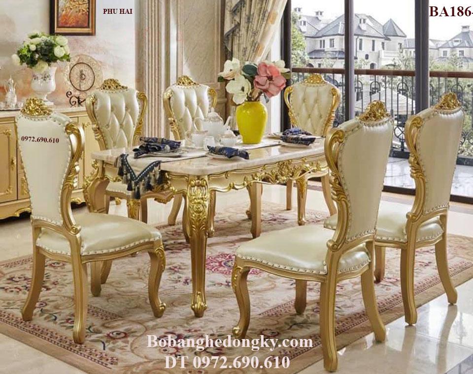 NGẮM Bộ Bàn Ghế Phòng Ăn Phong Cách Tân Cổ Điển BA186