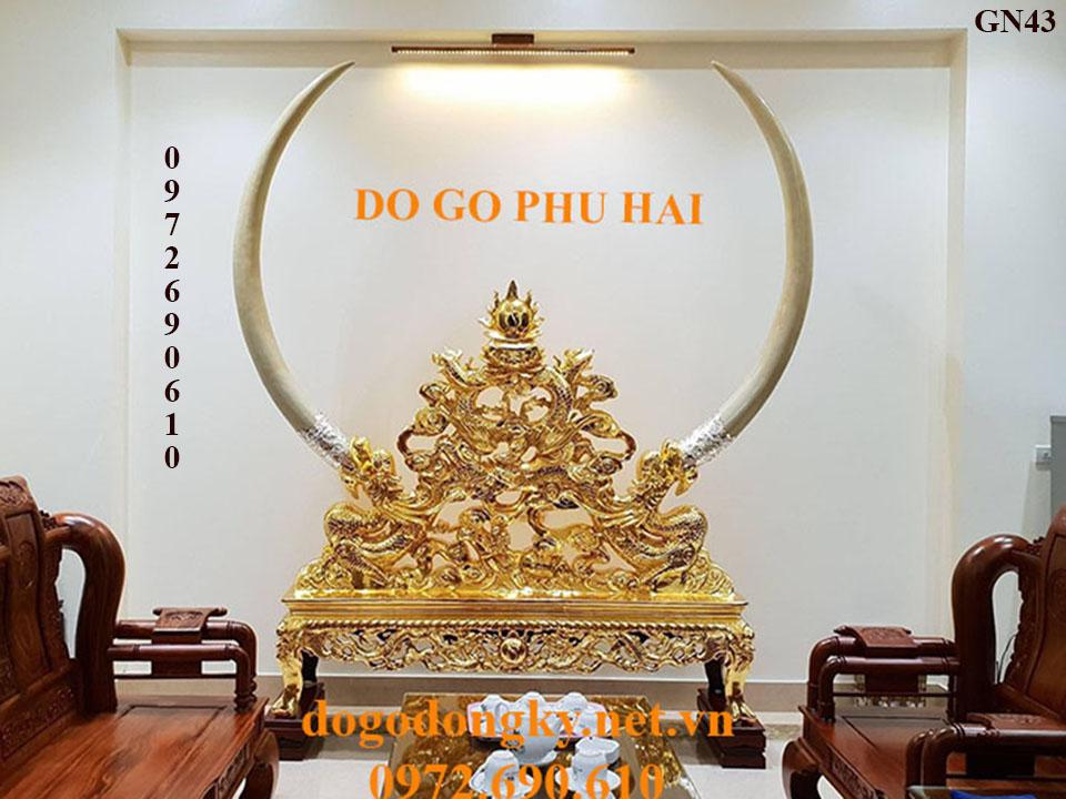 【MUA NGAY】Bộ Kệ Gỗ Để Ngà Voi Dát Vàng Hàng ĐỌC & HIẾM GN43