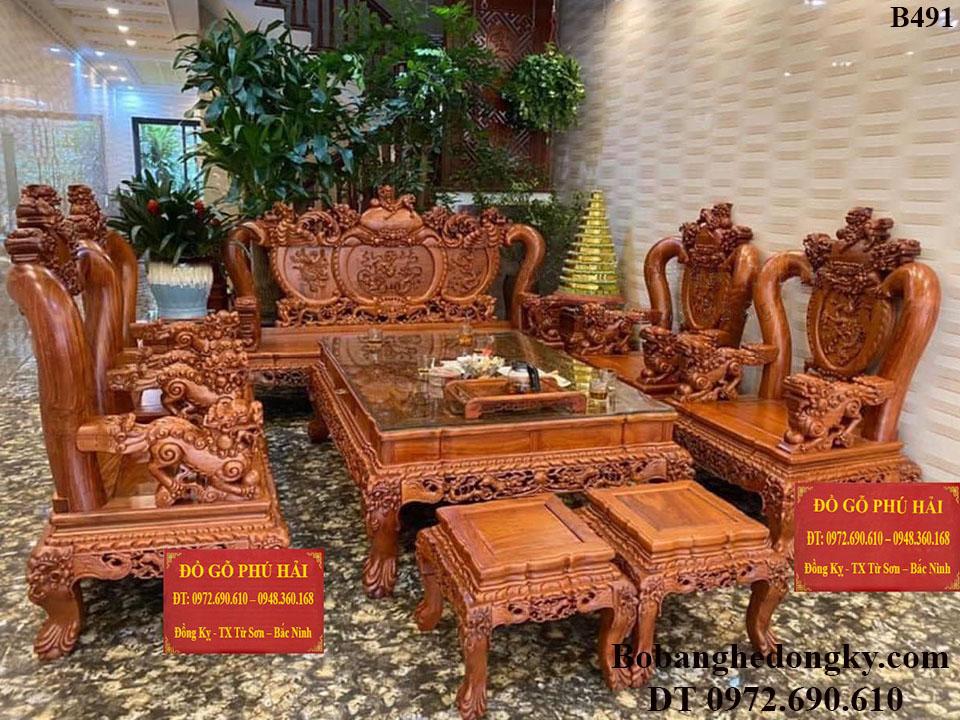 Bộ Bàn Ghế Nghê Bảo Đỉnh C16 Gỗ Hương Đá Siêu Đẹp B491