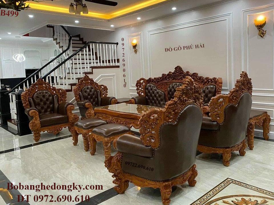 Bộ Bàn Ghế Bọc Da Bò Mẫu Hoàng Gia Cho Phòng Khách VIP B499