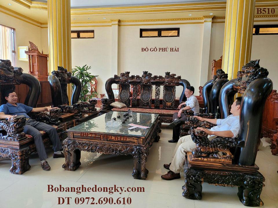 NGẮM Bộ Bàn Ghế Gỗ Mun Nặng 2 Tấn  Cột 20 Giá Hơn 1 Tỷ B510