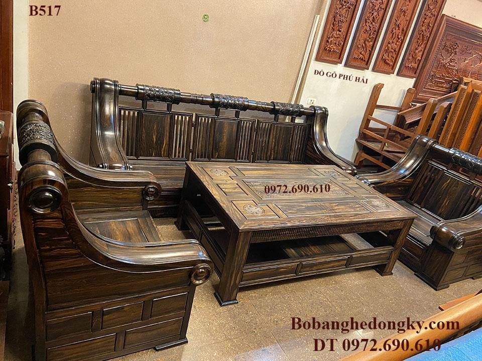 Bộ Bàn Ghế Gỗ Mun Kiểu Sofa Đặt Đêm Mẫu Hiện Đại B517