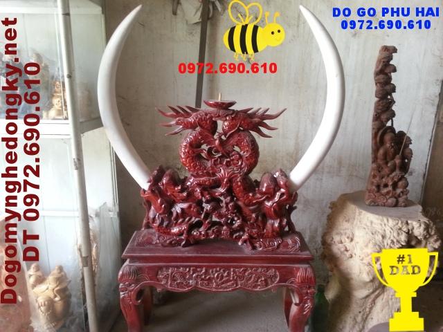 Đồ Gỗ mỹ nghệ ,Giá cắm ngà voi Gỗ Gụ GN09