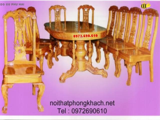 Bộ bàn ghế phòng ăn Bầu dục 9 ghế BA6-10