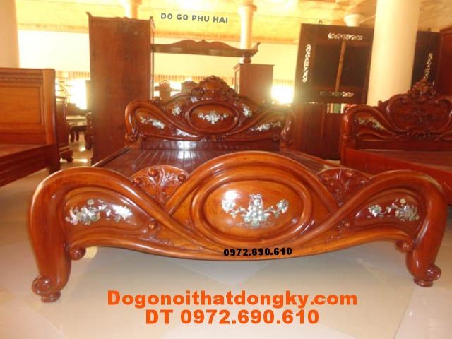 Đồ gỗ mỹ nghệ Giường Gỗ, Giường quả bàng GN22