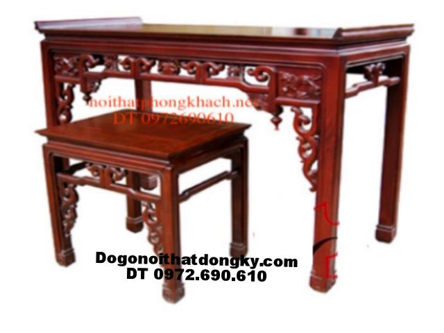 Bàn thờ gỗ gụ kiểu Minh móc ST02