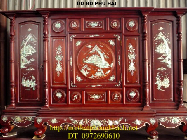 Tủ thờ gỗ gụ Khảm ốc khảm cảnh TT5
