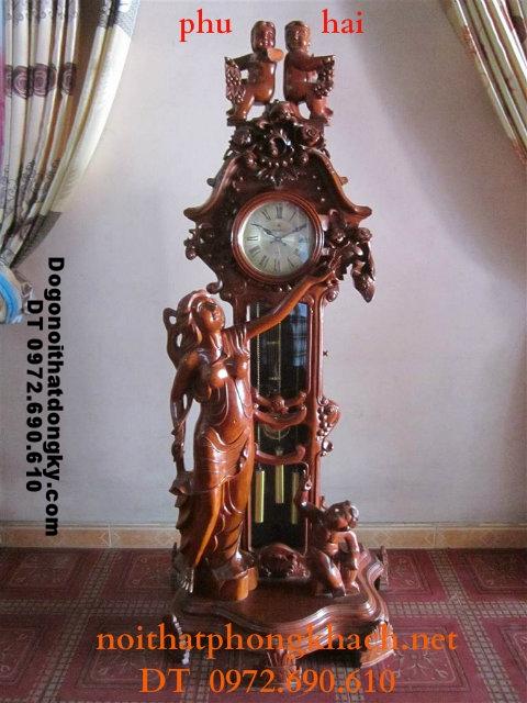Đồng hồ cây gỗ gụ kiểu Thiên thần ĐH25