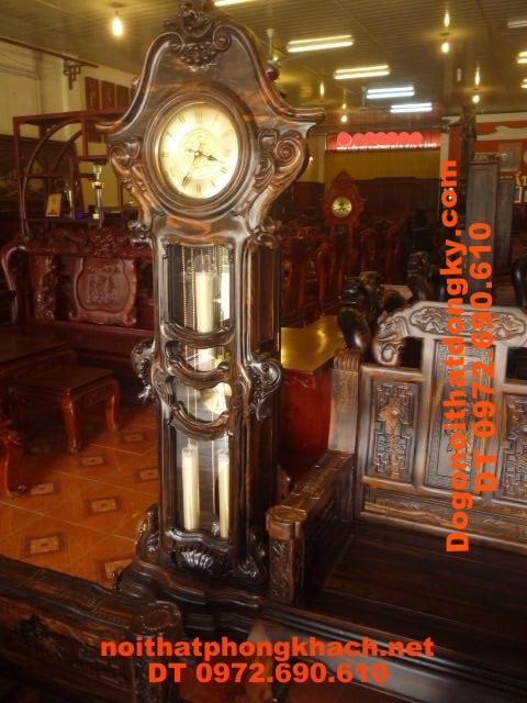 Đồng hồ cây Gỗ Mun cham hoa lá tây ĐH37