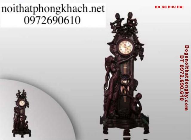 Đồng hồ cây gỗ trắc kiểu thiên thần ĐHT01
