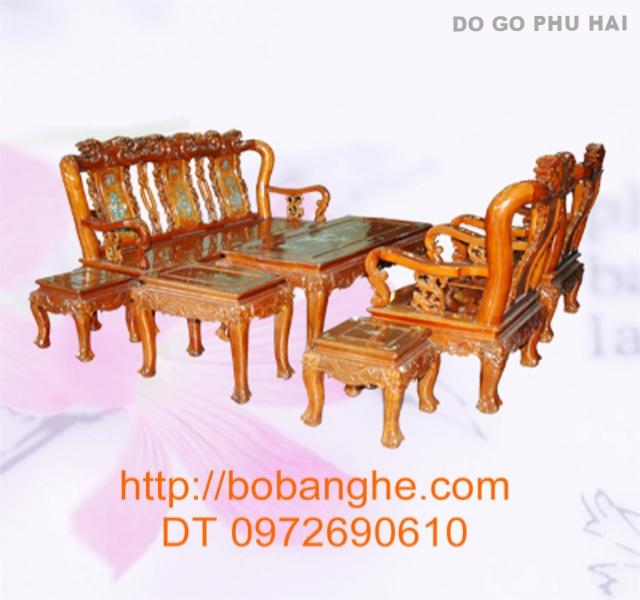 Bộ bàn ghế gỗ gụ Quốc Đào khảm MGK01