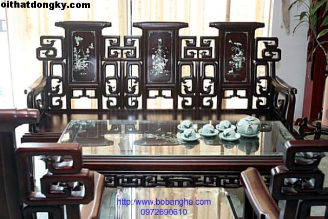 Bộ bàn ghế kiểu triện hạc khảm gỗ gụ TH03