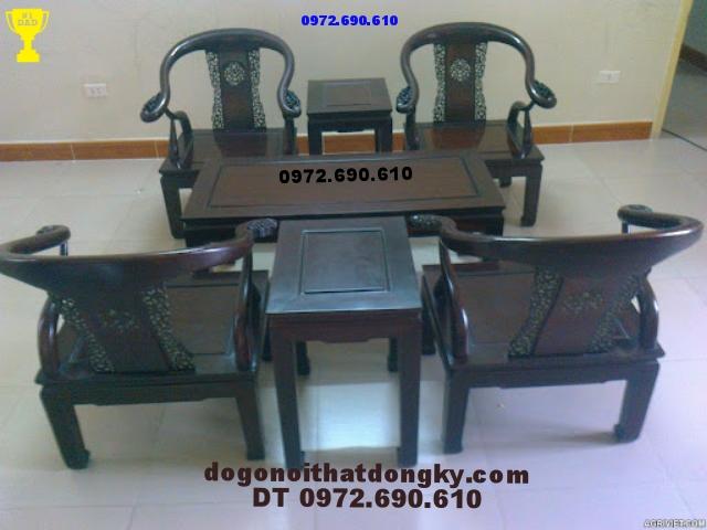 Bàn ghế đồng kỵ Minh Lùn Gỗ Gụ ML02