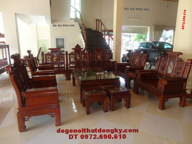 Bộ bàn ghế phòng khách gỗ hương Kiểu tay hộp AU4A