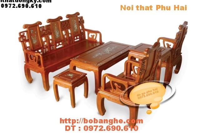 Bộ bàn ghế khảm ốc kiểu triện hạc gỗ Hương TH02