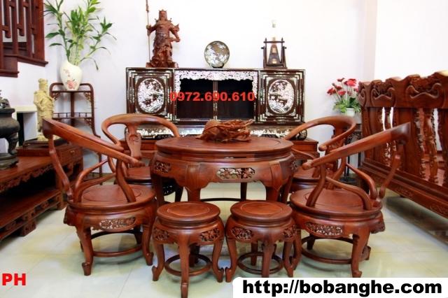 bộ bàn ghế Minh quốc Bàn tròn gỗ Hương BT04