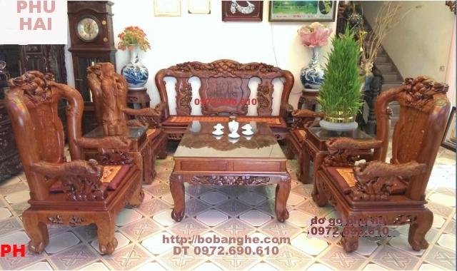 Bộ bàn ghế gỗ hương kiểu Công Phượng Vai 12 PC17